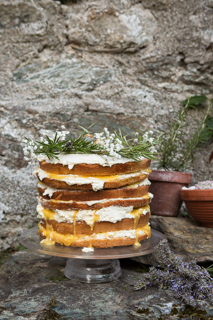 Outdoors In Anglesey Wedding naked cake By Gill Jones Photography