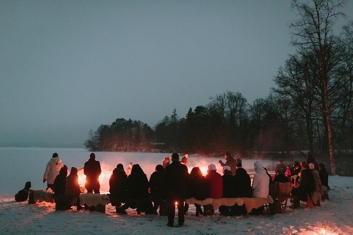 Winter Forest Fire Wedding in Sweden By Loke Roos Photography