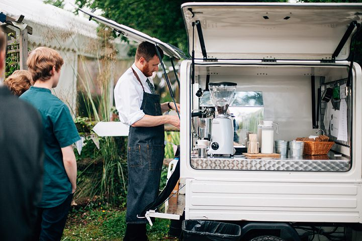 Back Garden Welsh Wedding tea cart By Kelly J Photography