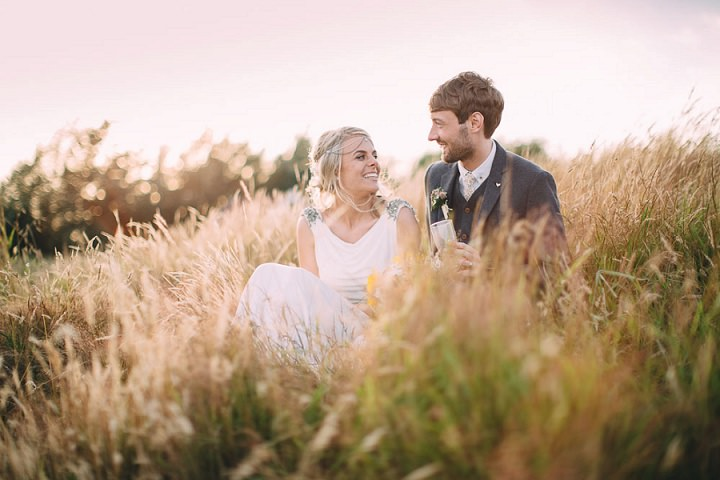 Festival Wedding couple portraits at Stanley Villa Farm in Preston By Mike Plunkett Photography