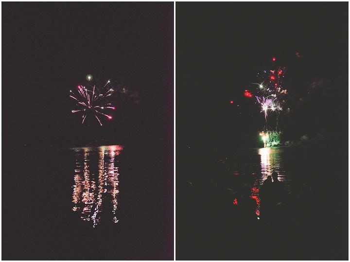 Canadian Camp Wedding fireworks By Kristyn Harder Photography