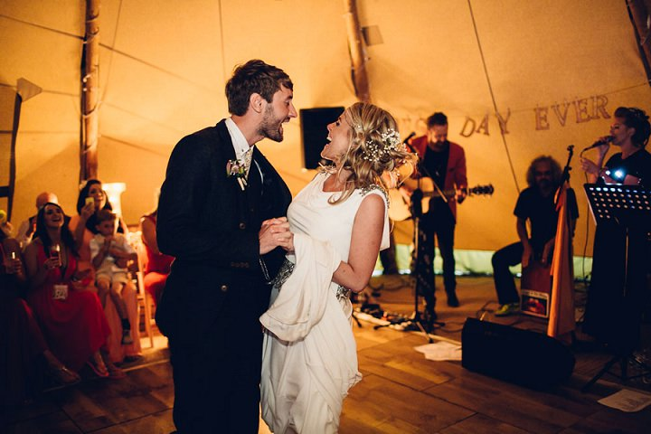 Festival Wedding first dance at Stanley Villa Farm in Preston By Mike Plunkett Photography