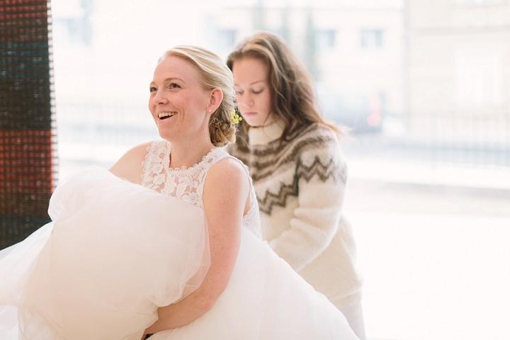Winter Forest Wedding bautiful bride in Sweden By Loke Roos Photography