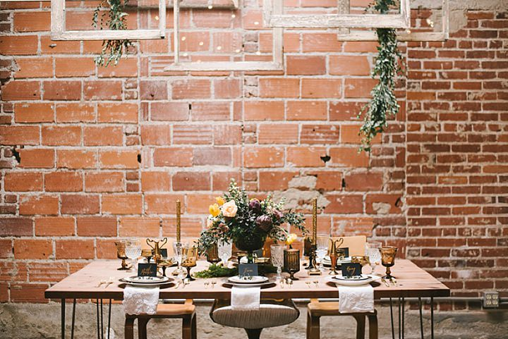 Industrial Boho table setting Wedding Inspiration