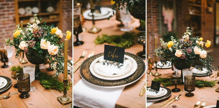 Industrial Boho table decorations Wedding Inspiration