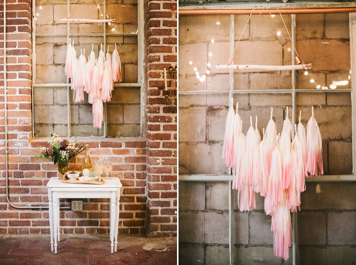 Industrial Boho Wedding hanging decorations Inspiration