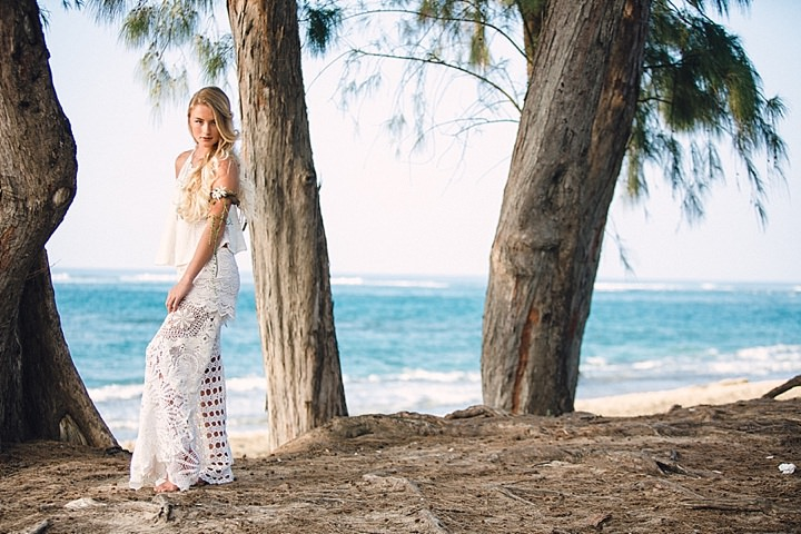Beautiful Bohemian bride on the beach Wedding Inspiration