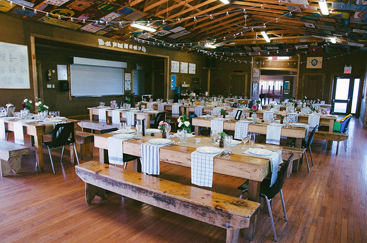 Canadian Camp Wedding reception setting in two Parts By ME Creative