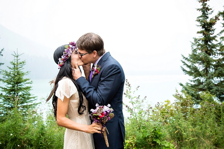 Beautiful Mountain Elopement first kiss By Kim Payant Photography