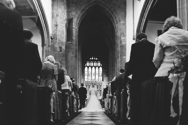 Somerset Wedding bride and groom at church By John Barwood Photography