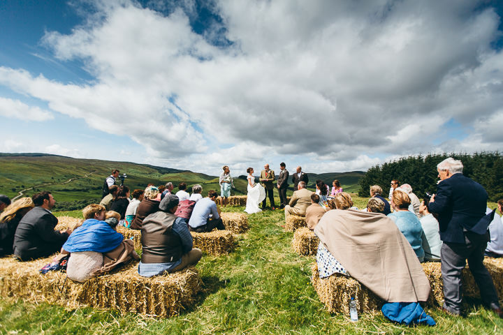 Welsh Farm Wedding outdoor ceremony By Mike Plunkett Photography