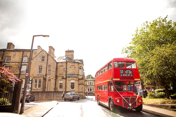 Modern Wedding red bus at The Hepworth By Matt Parry Photography