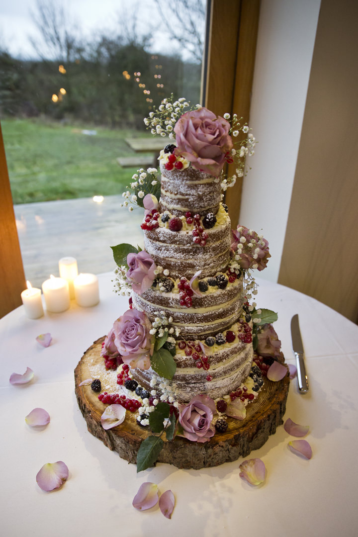 Rustic Winter naked cake Wedding By Mark Tattersall