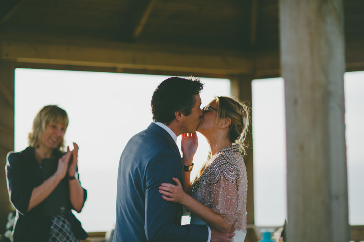 Cornish Elopement kissing By Amy Sampson Photography