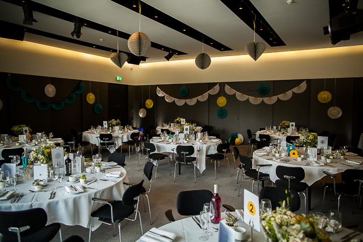 Modern Wedding reception setting at The Hepworth By Matt Parry Photography