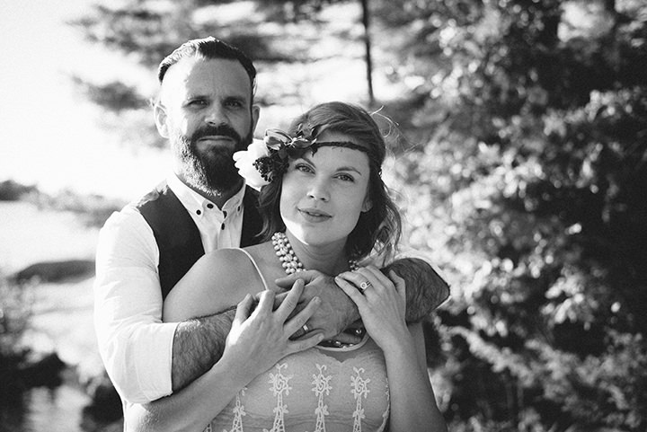 Canadian Camp Wedding bride and groom in two Parts By ME Creative