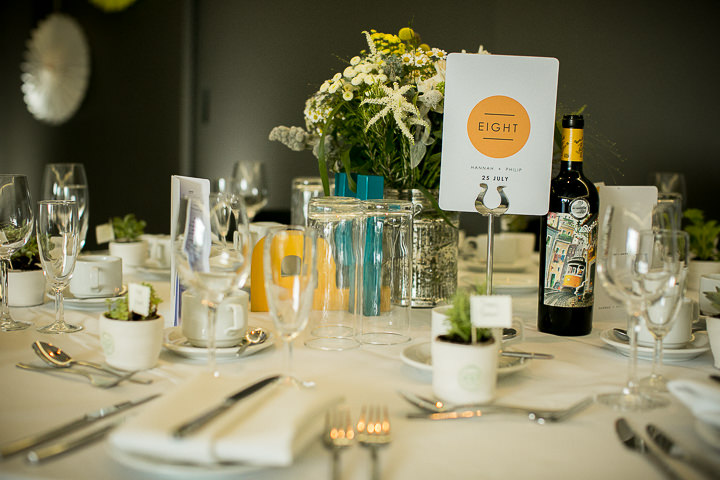 Modern Wedding table number at The Hepworth By Matt Parry Photography