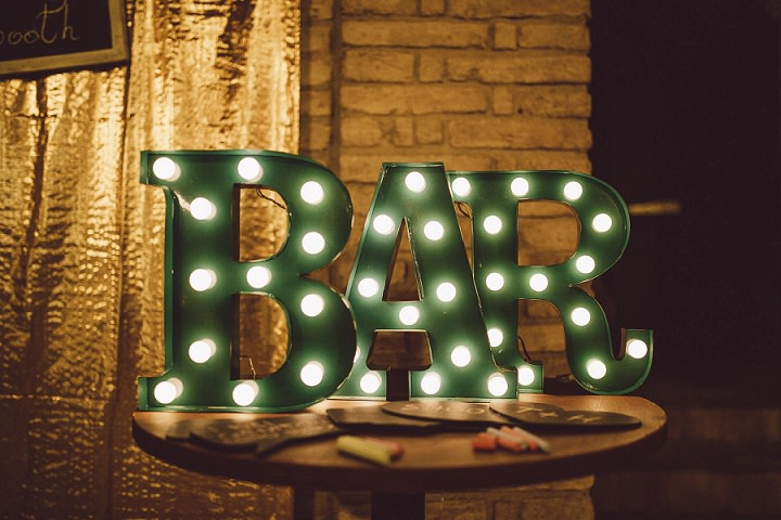 Rustic Luxe Italian Wedding bar sign By Lato Photography
