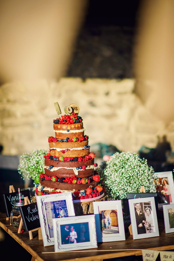 Homespun Barn Wedding at Elmley Nature Reserve Naked Cake in Kent By Photography By Vicki