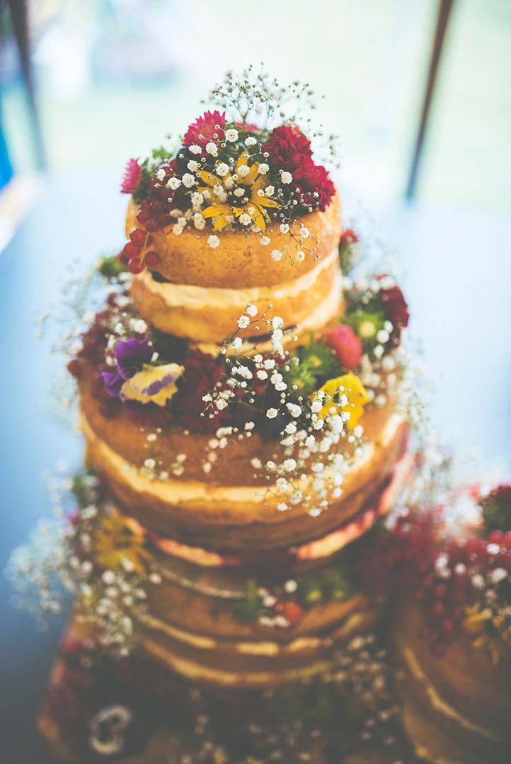 Retro Village Fete Wedding naked cake By Tom Halliday