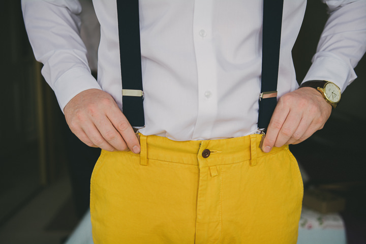 Somerset Wedding yellow trousers By John Barwood Photography