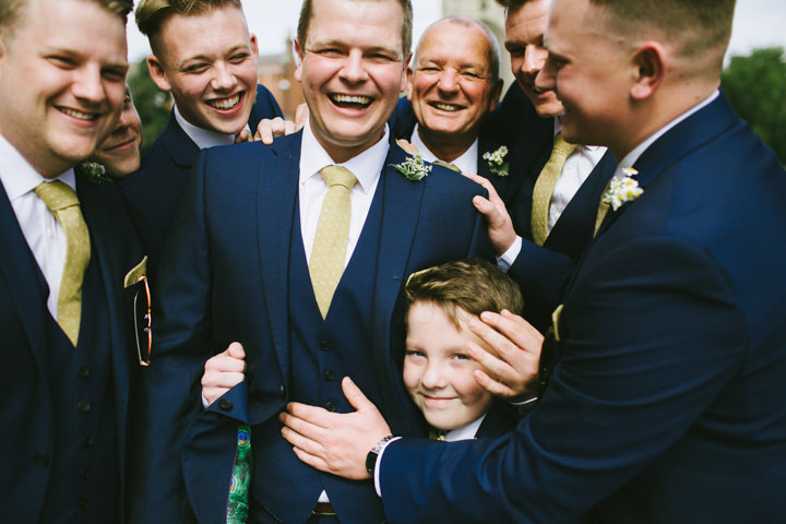 Yellow Wedding groomsmen with a Candy Anthony Dress