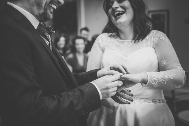 Wedding ring exchange at The Lowry By Nicola Thompson Photography