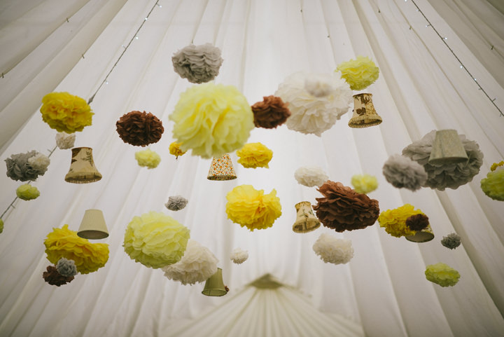 Yellow pom pom Wedding with a Candy Anthony Dress