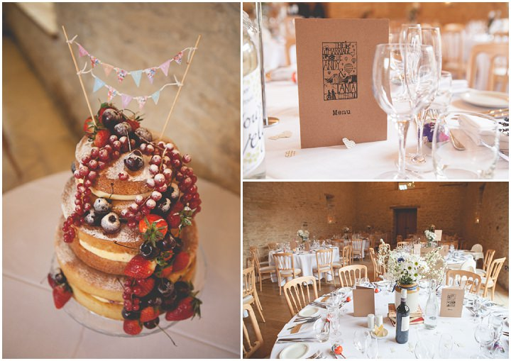 Cotswolds Barn Wedding naked cake By Claire Basiuk Photography