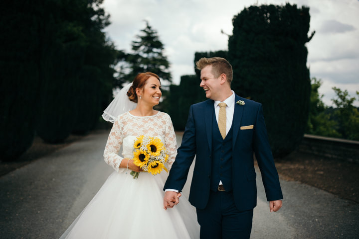 Yellow Wedding sunflower with a Candy Anthony Dress