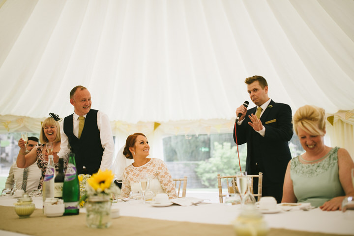 Yellow Wedding speeches with a Candy Anthony Dress