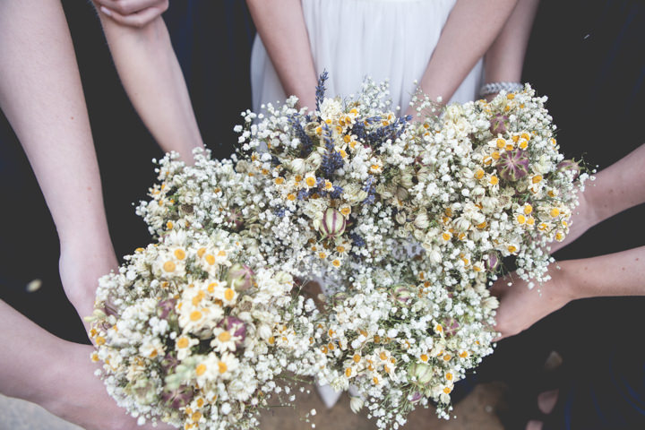 Cotswolds Barn Wedding dried flower bouquet By Claire Basiuk Photography