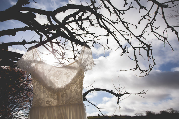 Cotswolds Barn Wedding grace loves lace dress By Claire Basiuk Photography