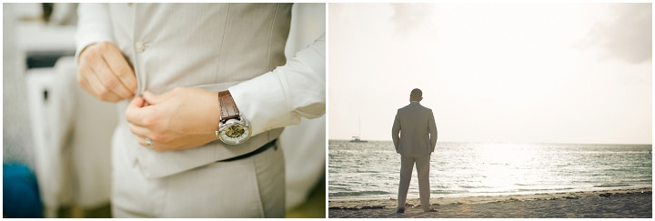 Beach wedding groom waiting in the Dominican Republic By Asia Pimentel Photography