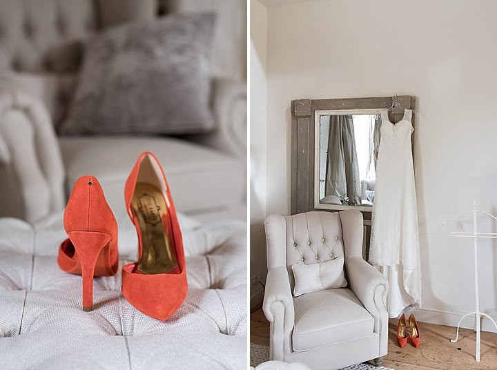 Manor Barn shoes and dress in Petersfield Wedding By Fiona Kelly Photography