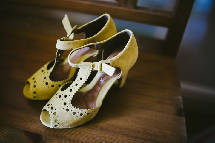 Yellow Wedding shoes with a Candy Anthony Dress