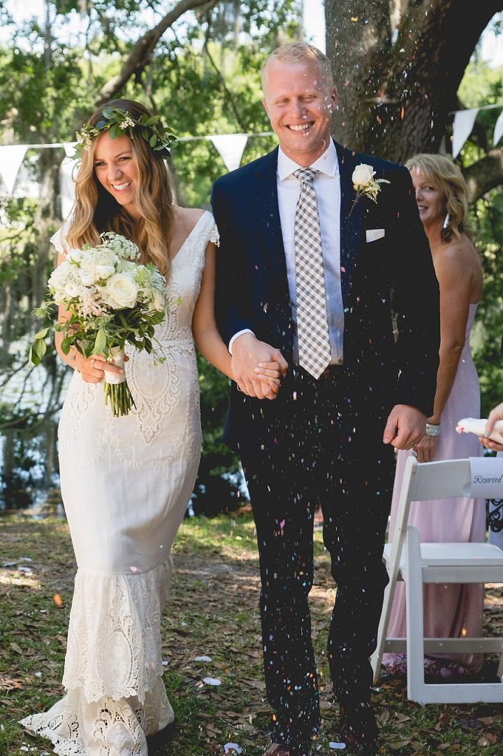 Backyard Florida Wedding confetti with a BHLDN Dress