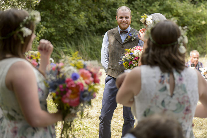 Bohemain Handfasting groom sees bride Wedding By Kit Fraser Photography