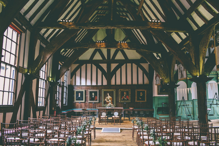 York Wedding ceremony setting By Emma Boileau Photography at Merchant Adventure's Hall.