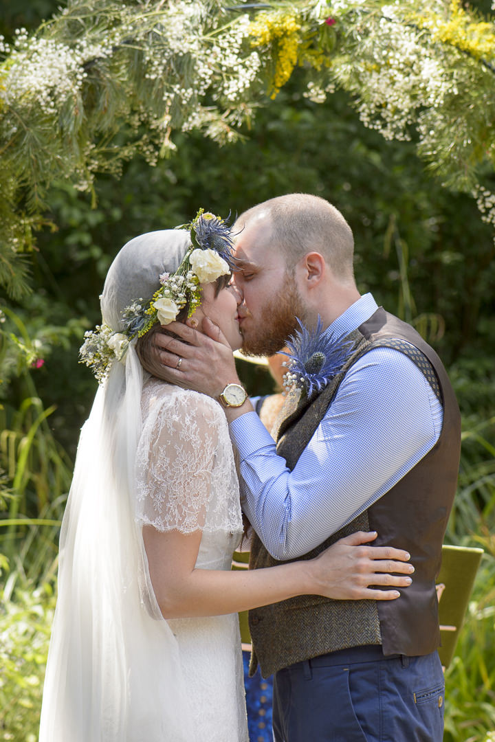 Bohemain Handfasting Wedding first kiss By Kit Fraser Photography