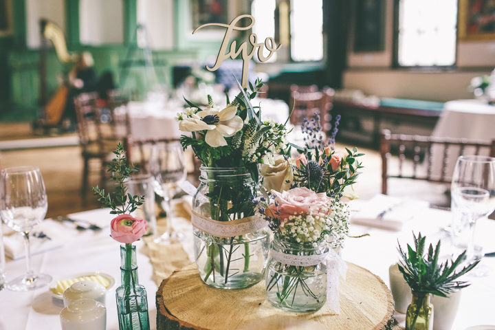 York Wedding jam jars By Emma Boileau Photography at Merchant Adventure's Hall.