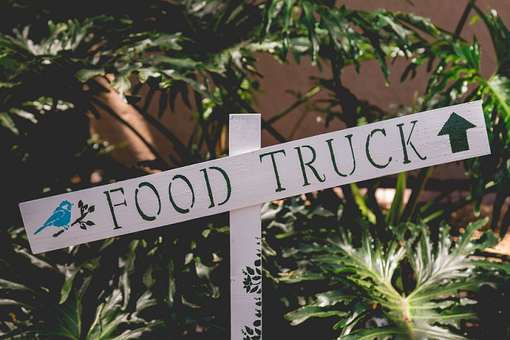 Backyard Florida Wedding food truck with a BHLDN Dress