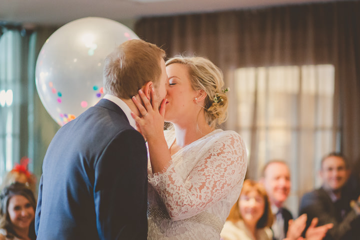 Wedding kiss at Great John Street in Manchester By Lottie Elizabeth Photography