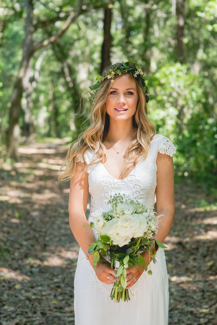 Backyard Florida Wedding bride with a BHLDN Dress