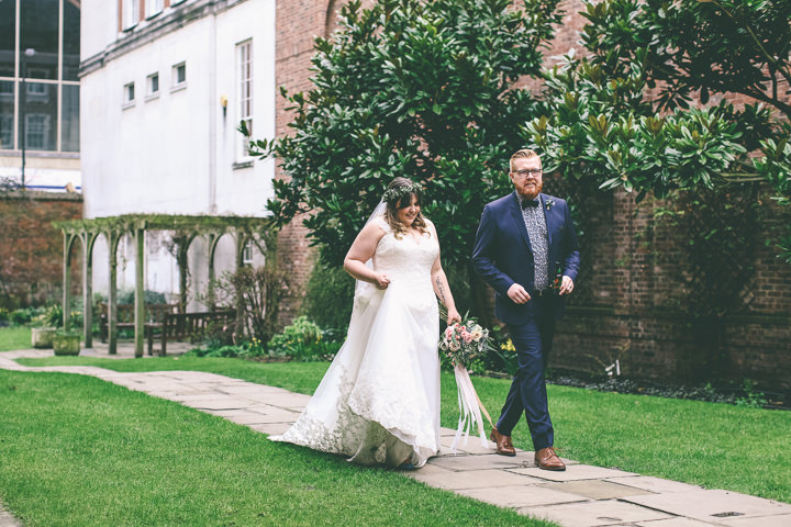York Wedding bride and groom By Emma Boileau Photography at Merchant Adventure's Hall.
