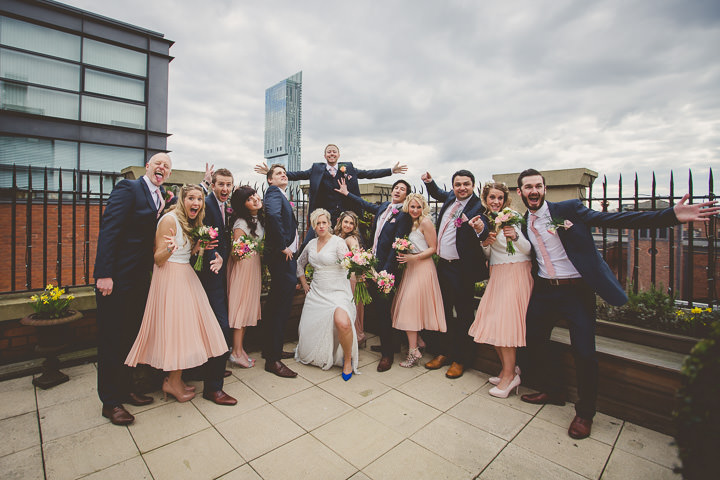 Wedding bridal party at Great John Street in Manchester By Lottie Elizabeth Photography
