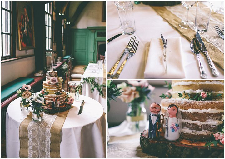 York Wedding naked cake By Emma Boileau Photography at Merchant Adventure's Hall.