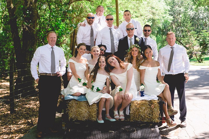 Backyard Florida Wedding bridal party with a BHLDN Dress