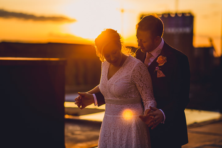 Wedding sunset at Great John Street in Manchester By Lottie Elizabeth Photography