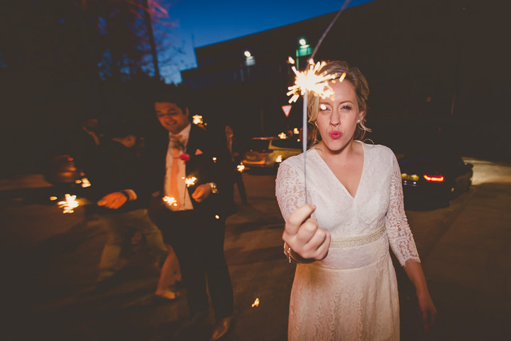 Wedding at Great John Street in Manchester sparklers By Lottie Elizabeth Photography